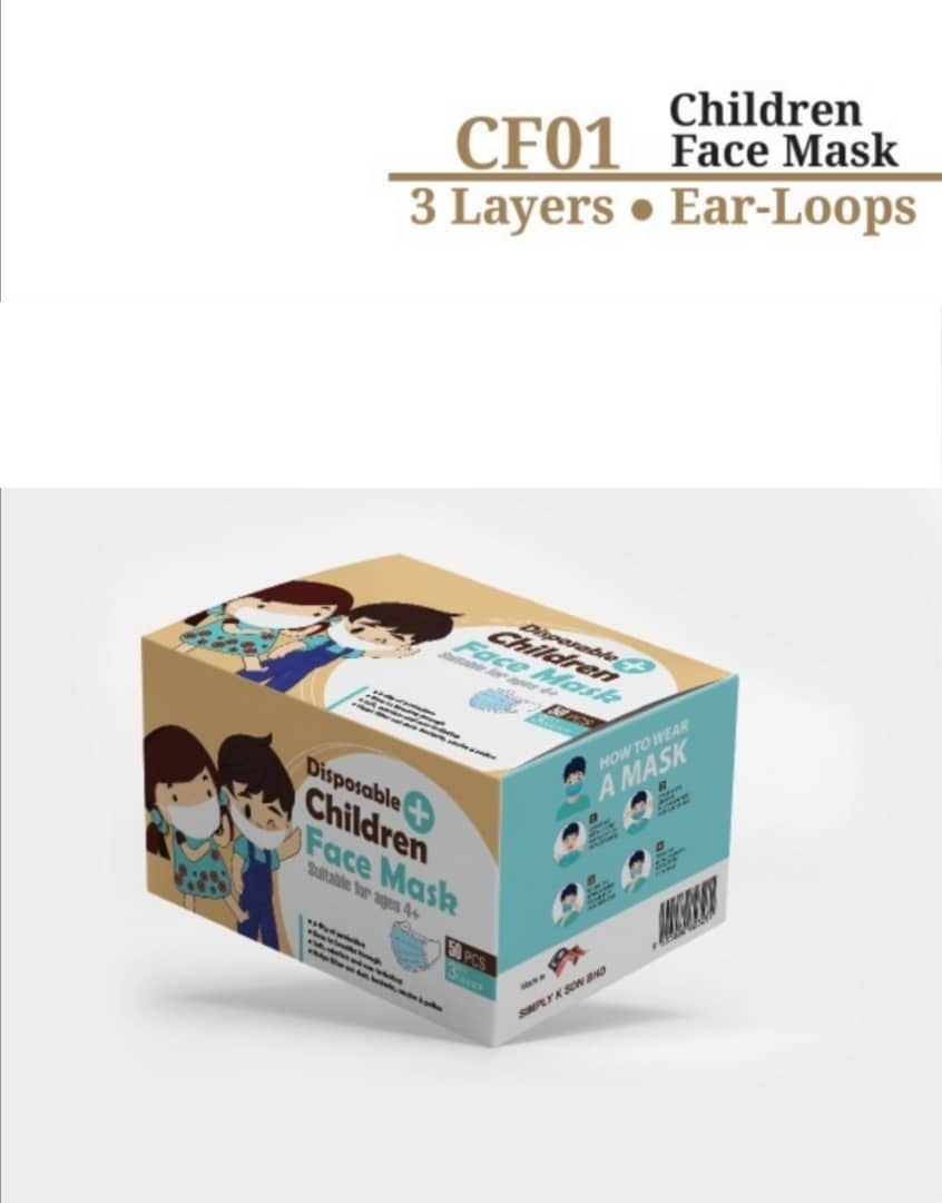 FACE MASK 3 PLY CHILD CF01 BLUE
