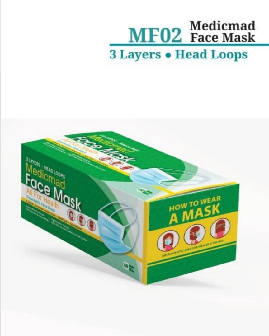 FACE MASK 3 PLY ADULT MF02 BLUE