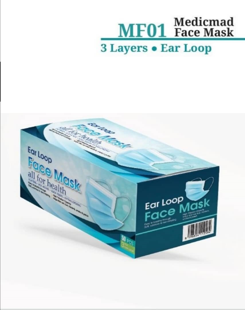 FACE MASK 3 PLY ADULT MF01 BLUE